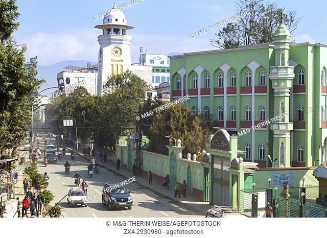 Durbar Marg Avenue and Madrasa Islamiya School, Kathmandu, Nepal
