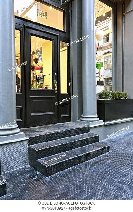 New York City, Manhattan, Soho. Close Up of a Retail Store Entry in a Cast Iron Building