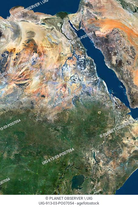 Satellite view of Eastern Africa. The image shows River Nile from Lake Victoria to its delta in Northern Egypt. This image was compiled from data acquired by...