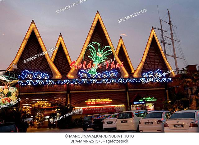 Golden thai restaurant on beach, penang, malaysia, asia