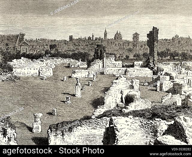 Panoramic view ruins of the Palatine Palace, Rome. Italy, Europe. Trip to Rome by Francis Wey 19Th Century