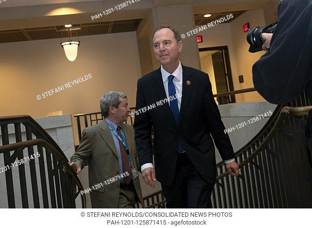 United States Representative Adam Schiff (Democrat of California) departs the closed-door deposition of William Taylor, the acting U.S