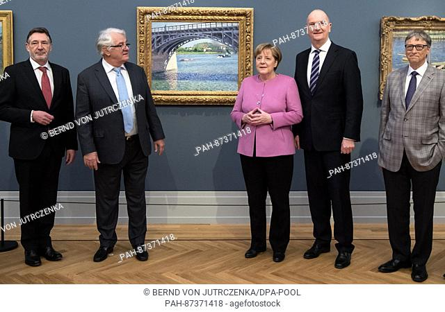 German Chancellor Angela Merkel (3-R, CDU) and entrepreneur Hasso Plattner (2-L) together with Head of SAP, Bill McDermott, Potsdam Lord Mayor Jann Jakobs (SPD)