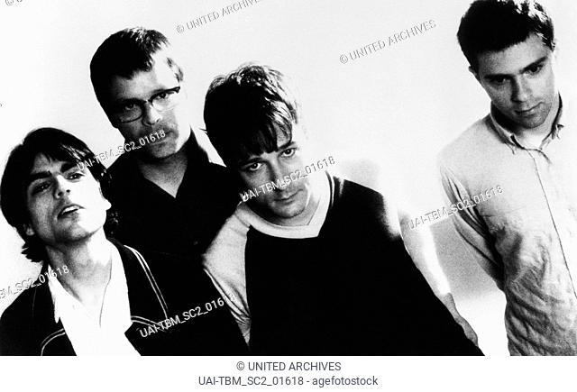 Die amerikanische Alternative Rock Band Weezer bestehend aus Brian Bell, Patrick Wilson, Matt Sharp und Rivers Cuomo, 1990er Jahre