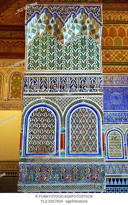 Berber Arabesque decorative honeycomb Muqarnas plaster capitals of Bou Ahmed's Harem. Bahia Palace, Marrakesh, Morroco