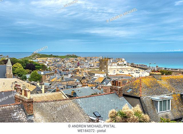 Elevated views of the popular seaside resort of St. Ives, Cornwall, England, United Kingdom, Europe