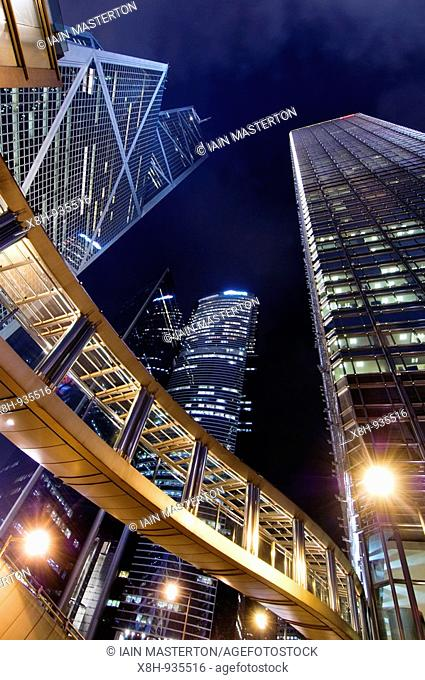 Night view of skyscrapers in Central District of Hong Kong