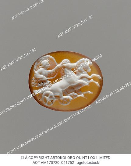Sardonyx cameo of Aurora in a chariot, Hellenistic or Early Imperial, 1st century B.C.–1st century A.D., Greek or Roman, Sardonyx, gold, H
