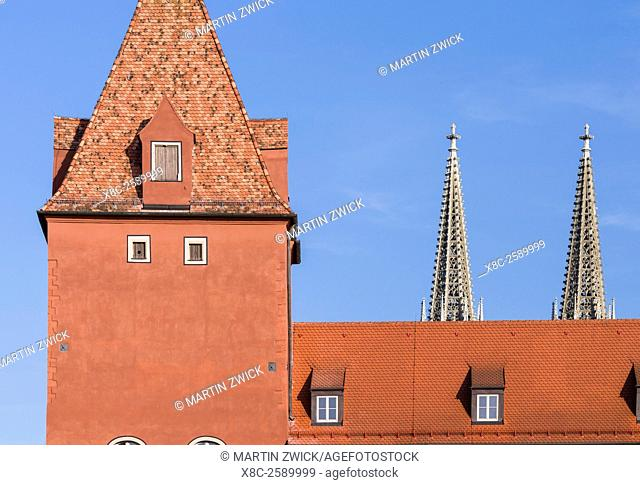 Regensburg in Bavaria, the Old Town is listed as UNESCO World Heritage. The medieval old town. Europe, Central Europe, Germany, Bavaria, October