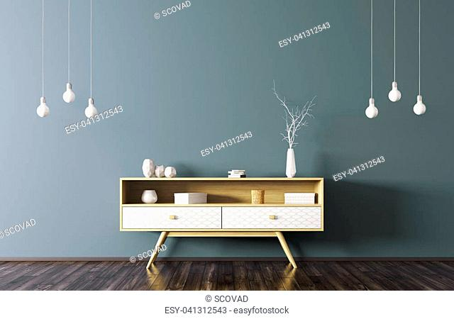 Modern interior of living room with wooden sideboard and light bulbs over blue wall 3d rendering