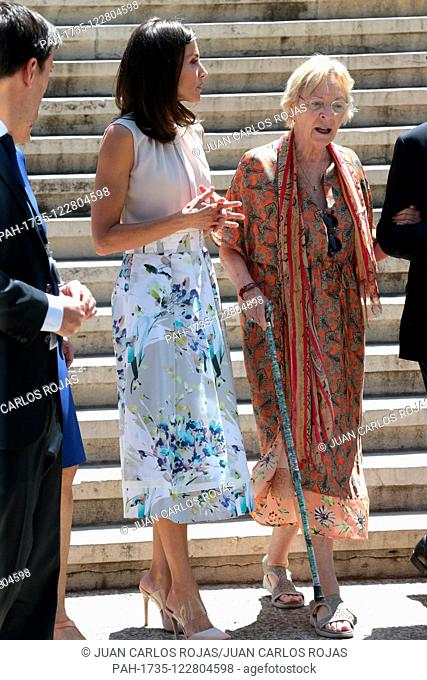 Madrid, Spain; 07/30/2019..Letizia Queen of Spain visits the National Library in Madrid, is received by Soledad Puertolas (R) writer