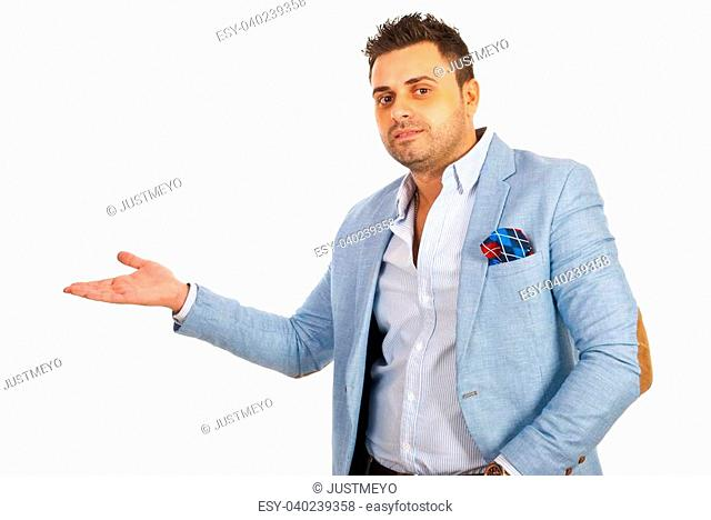 Business man making presentation or welcome you to enter isolated on white background