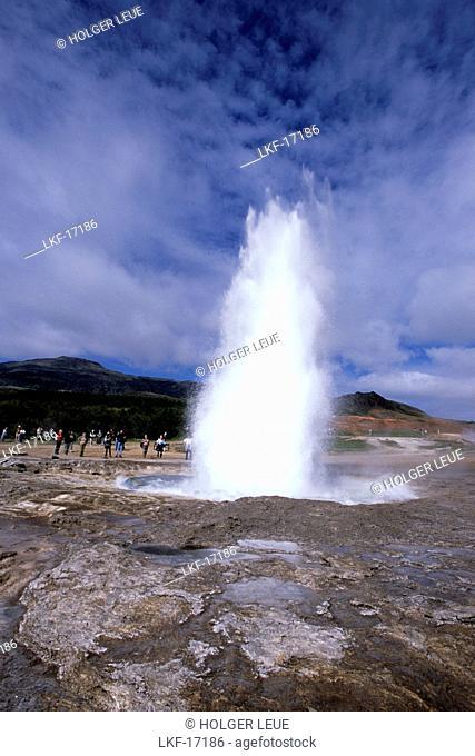 Strokkur Geyser Eruption, Geysir, Iceland