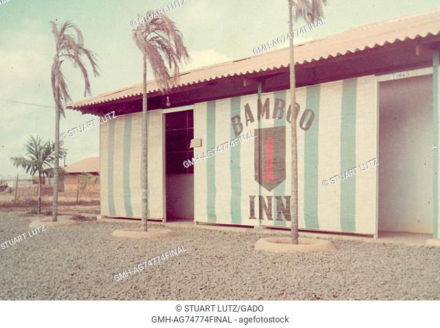 Building on a base housing the 1st Infantry Division of the United States Army, labeled Bamboo Inn, during the Vietnam War, Vietam, 1970