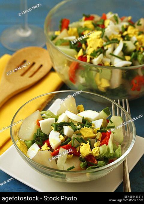Potatoes salad with veggies and eggs