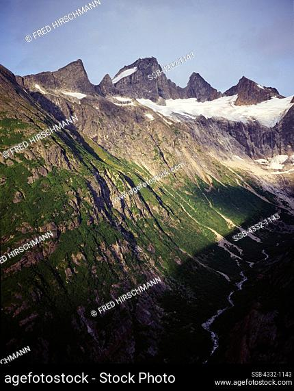 Aerial view of arete including The Tusk, east of Battle Glacier, Tongass National Forest, Alaska