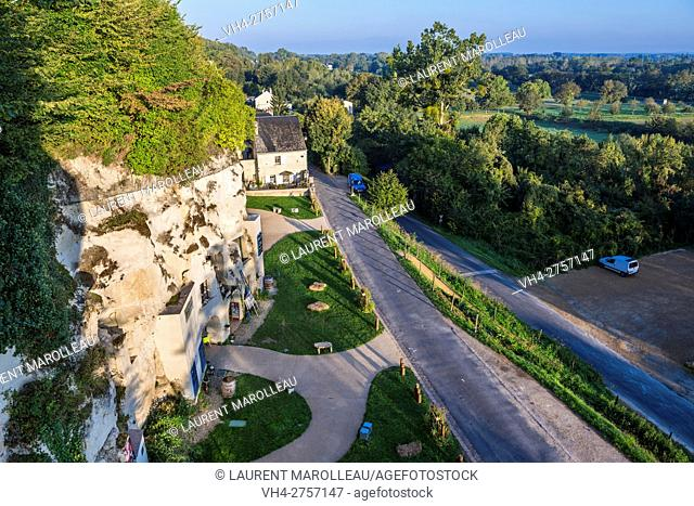 Troglodytic Houses at Turquant. The cave complex of Turquant houses, Arts and Crafts City label. Saumur District, Maine-et-Loire, Pays de la Loire Region