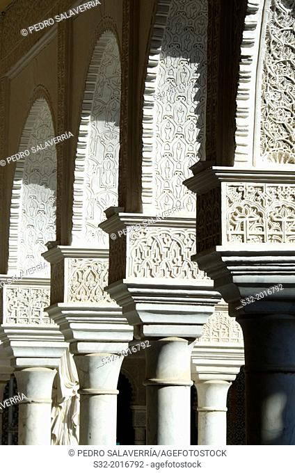 Columns in Courtyard in the palace of Pilatos, Seville, Andalucia, Spain
