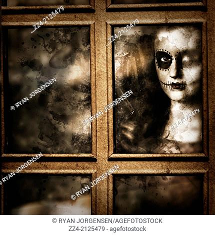 Scary portrait of a crazy sugar skull murderer standing by the window with hand gun, watching and waiting