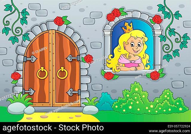Princess in window and old door - eps10 vector illustration