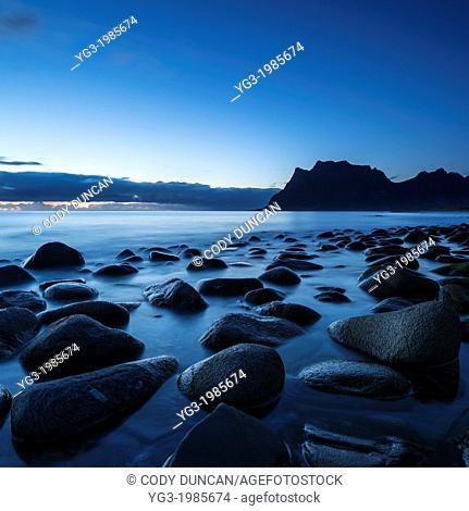 Last light at Utakleiv beach, Lofoten Islands, Norway