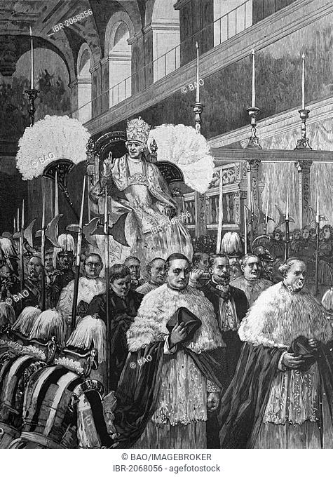 Historical engraving, golden jubilee of ordination of Pope Leo XIII, procession into St Peter's, Pope Leo XIII, Vincenzo Gioacchino Pecci, 1810-1903, 1888