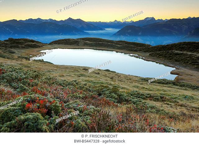 Grison Alps with mountain lake Pascuminersee in the morning, Switzerland, Grisons