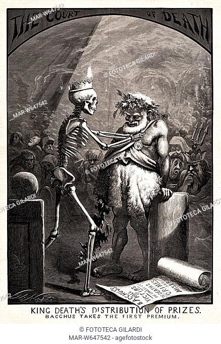 ALCOLISMO Stampa satirica di Thomas Nast contro la piaga dell'alcolismo. Il re della morte distribuisce i premi: a Bacco assegna il primo premio