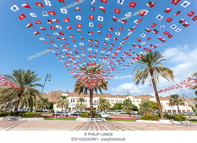 Decoration with omani national flags for Sultan Qaboos birthday at the 19th of November. November 24, 2015 in Muttrah, Oman, Middle East