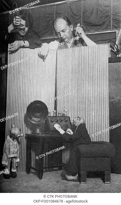 Czechoslovak puppet actors Jozef Skupa, right, and Jirina Skupova perform with Spejbl, right, and Hurvinek puppets in Pilsen Puppet Theatre, Pilsen