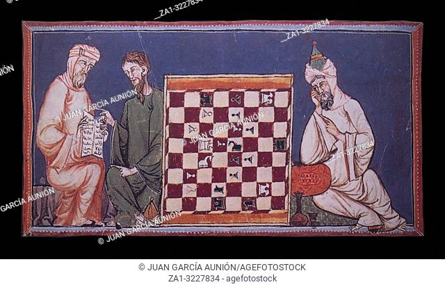 Badajoz, Spain - Dic 19th, 2018: Miniature depicting chass game with christian and moslims players, belonged to Book of the Games of Alphonse X the Wise