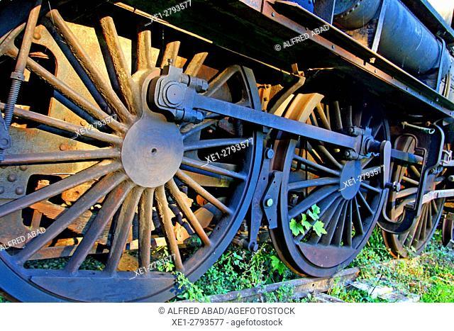 Old train wagon, castle of Saint-Fargeau, France