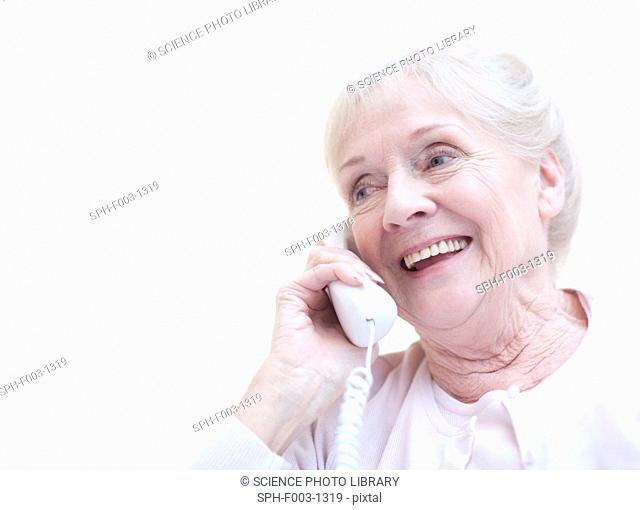 Senior woman talking on the telephone