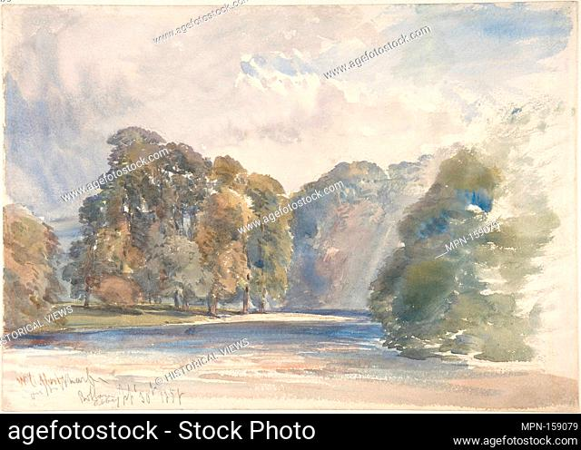 On the Wharfe, Bolton Abbey. Artist: William Callow (British, Greenwich 1812-1908 Great Missenden, Buckinghamshire); Date: 1858; Medium: Watercolor; Dimensions:...