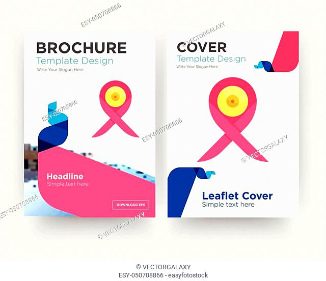 breast cancer ribbon brochure flyer design template with abstract photo background, minimalist trend business corporate roll up or annual report