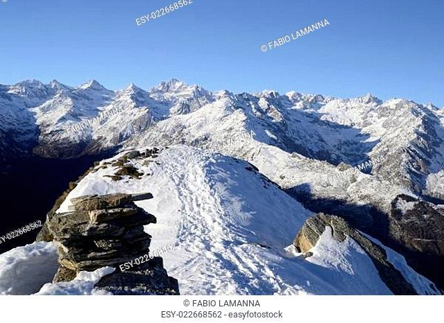 Majestic high mountain winter scene