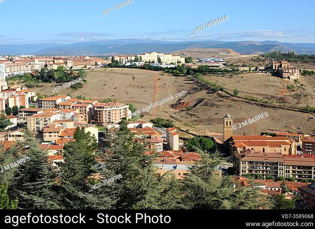 Soria city. At bottom right Nuestra Señora del Miron Hermitage (18th century). Castilla y Leon, Spain