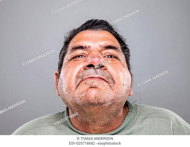 Closeup portrait of an elderly man