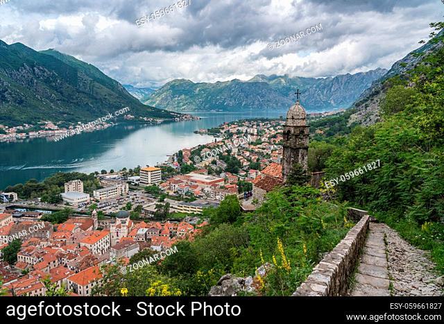 Steep pathway by Church of our Lady of Remedy above old town Kotor in Montenegro