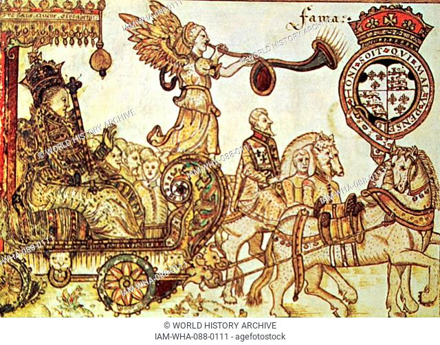 Woodblock print depicting Queen Elizabeth I of England (1533-1603) Queen of England, riding in the Chariot of Fame. Dated 16th Century