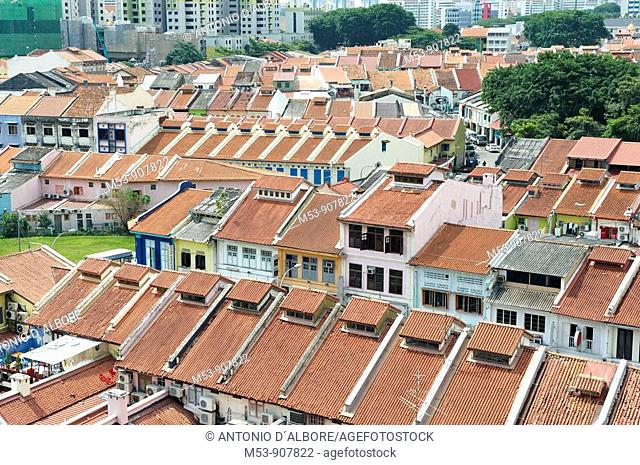 aerial view of little india district  singapore  asia