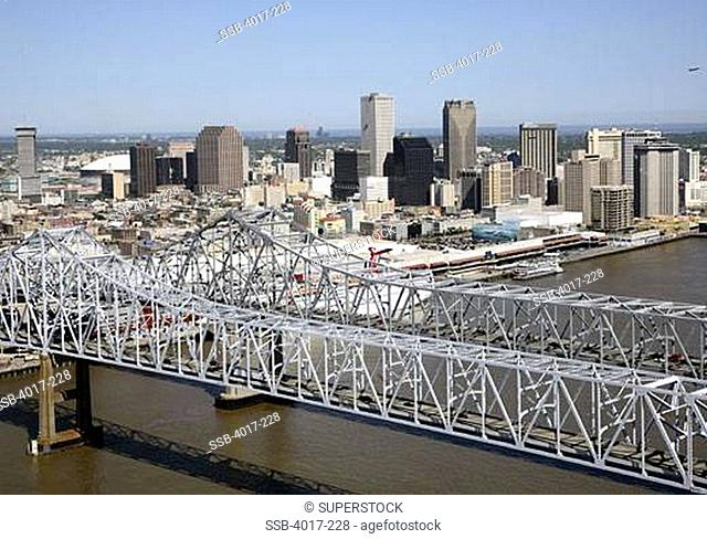 USA, Louisiana, New Orleans, Mississippi River with city skyline