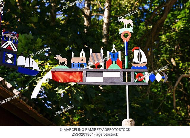 Curonian pennant, weather vane. Curonian Spit, Juodkrante, Neringa Municipality, Klaipeda County, Lithuania, Baltic states, Europe