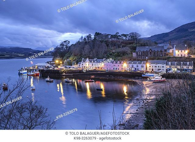Colorful houses on the pier, Portree (Port Rìgh), Isle of Skye, Highlands, Scotland, United Kingdom