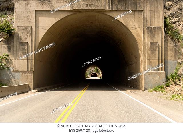 Canada, BC, Yale. Tunnel on Highway 1 in the Fraser Canyon