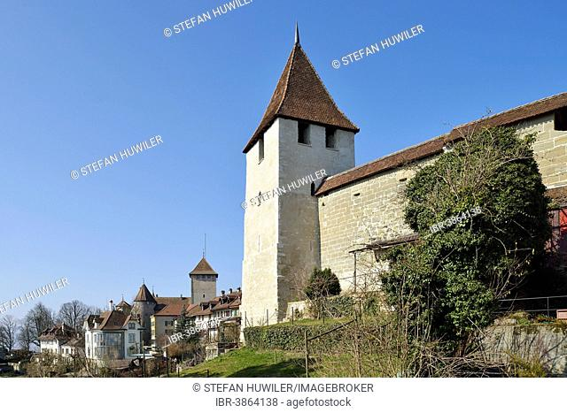 Hexenturm or Roter Turm on the city wall, Murten, Canton of Fribourg, Switzerland