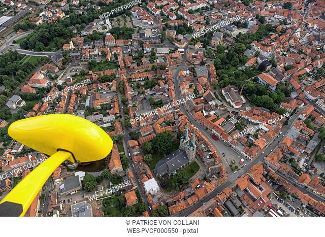 Germany, aerial view of Quedlinburg with yellow landing gear in the foreground