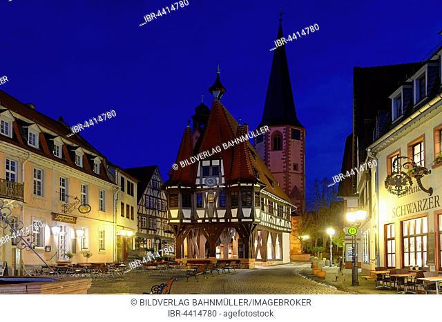 Michelstadt City Hall and church tower at night, Michelstadt, Odenwald, Hesse, Germany