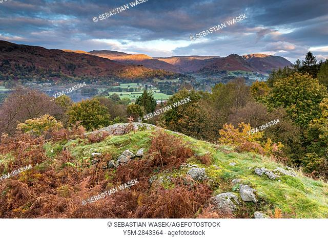 A view over Grasmere from White Moss Common, Lake District National Park, Cumbria, England, United Kingdom, Europe