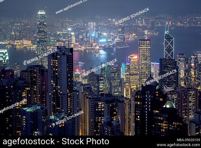 Hong Kong at night, viewpoint Victoria Peak